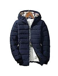 Ellove Chic Men's Cotton Hooded Zipper Coat Winter Outwear Slim Parka Jacket