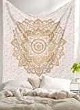 Madhu International New Launched Twin White Gold Ombre Mandala Tapestry By, Boho Mandala Tapestry, Twin Wall Hanging, Gypsy Tapestry, Mandala Wall Tapestries