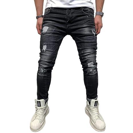 BMEIG Herren Skinny Jeans Destroyed Ripped Zerrissene Slim Fit Stretch Distressed Denim Basic Männer Jeanshose Designer Schwa