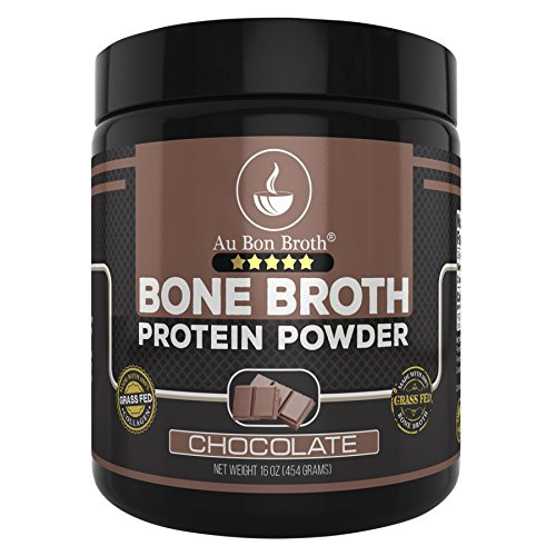 Genuine Grass Fed Organic Bone Broth Protein Powder Collagen 16oz. Chocolate Flavor 28 Servings, Mixes Instantly, Gluten Free, Pasture Raised, 100% Sourced, Made in USA, NOT from Concentrate by Au Bon Broth