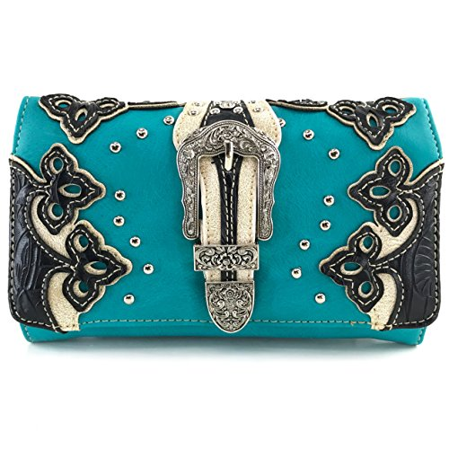 (Justin West Laser Cut Rhinestone Silver Buckle Studded Cross Shape Design Wristlet Trifold Wallet Attachable Long Strap (Turquoise Black))