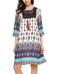 Meaneor Women Vintage Ethnic Style Printed Tassel Tie Loose Fit Boho Tunic Dress