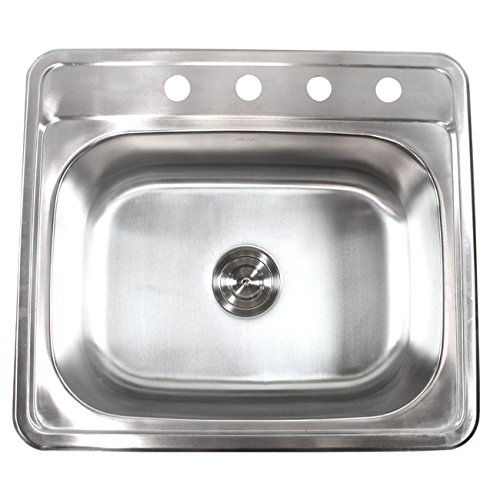 25 Inch Top-Mount / Drop-In Stainless Steel Kitchen Island / Bar Sink - 18 Gauge - Kitchen Island Bar Sink