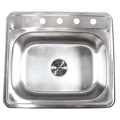 25 Inch Top-Mount Drop-In Stainless Steel Kitchen Island Bar Sink – 18 Gauge