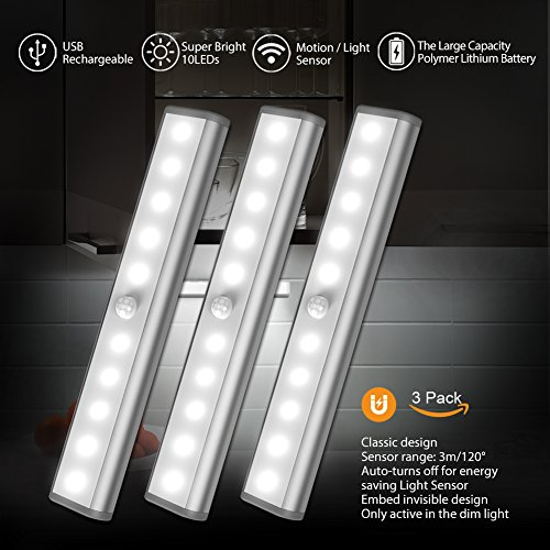 Motion Sensor Cabinet Led Light, USB Rechargeable 3 Modes Switch(G,ON and OFF) Magnetic Stick On Anywhere Outdoor Portable Night Light Lamp Bulb Lighting Bar for Closet Wardrobe (3 Pack 10LED, Silver) (Detector Usb Motion)