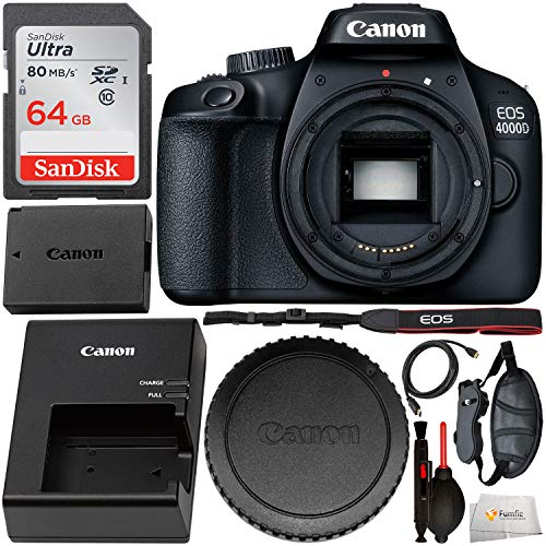 Canon EOS 4000D DSLR Camera (Body Only) and Starter Accessory Bundle – Includes SanDisk Ultra 64GB SDXC Memory Card & Padded Wrist/Hand Strap & Mini HDMI Cable & Cleaning Pen & Dust Blower & MORE