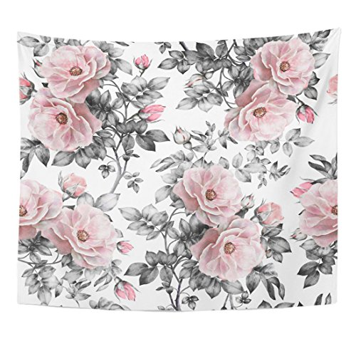 Emvency Tapestry Gray Retro Pink Flowers Leaves on White Watercolor Floral Pattern Rose in Pastel Color Painting Home Decor Wall Hanging Living Room Bedroom Dorm 50x60 inches