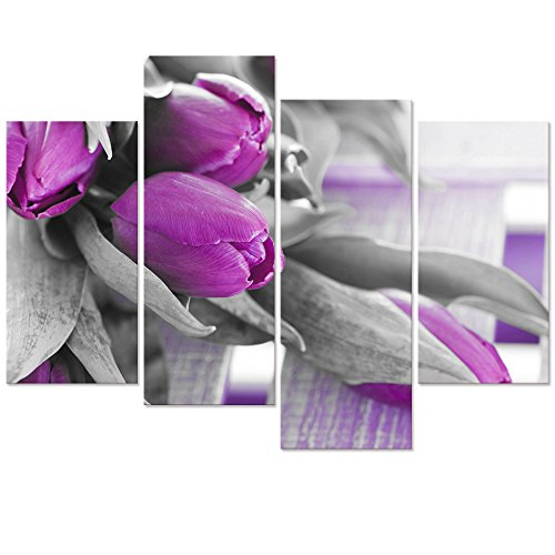 Visual Art Decor Modern Purple Tulip Giclee Canvas Prints Home Wall Decor Framed and Stretched Images Painting Prints Living Room Wall Decor (Purple) Tulip Frame Wall Mirror