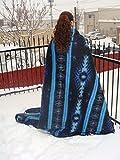 "Recycled Geometric Design Alpaca Wool Blend Fiber Blanket 66""x 94"" Eco Friendly"