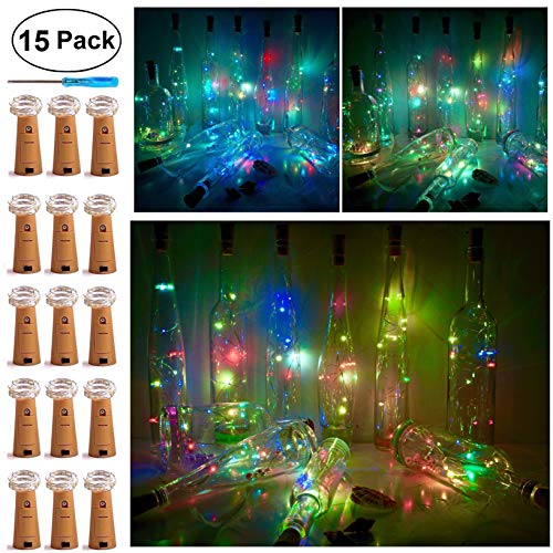 Wine Bottle Cork Lights, Battery Operated LED Cork Shape Silver Copper Wire Colorful Fairy Mini String Lights for DIY Party Halloween Wedding,Outdoor Indoor Dec,15Pack ( Colorful Flicker)