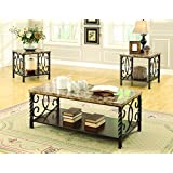 Coaster Occasional Transitional Dark Brown Three-Piece Table Set with Faux Marble Top