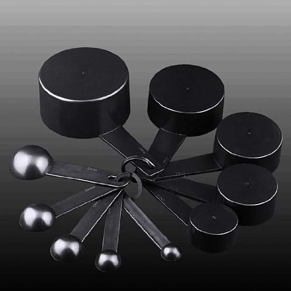 Flyes 10/pcs Plastique Noir Cuill/ères /à mesurer Ensemble de Tasses pour Cuisson de Cuisine P/âtisserie Noir