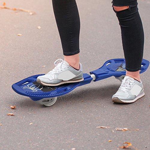 COSTWAY Waveboard Casterboard Surfboard Skateboard Streetboard Caster Board Leuchtrollen inkl. Tasche Blau iiI97