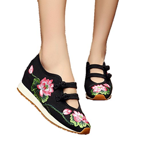Chinese Embroidery Shoes Chinese style embroidered Canvas sports shoes black