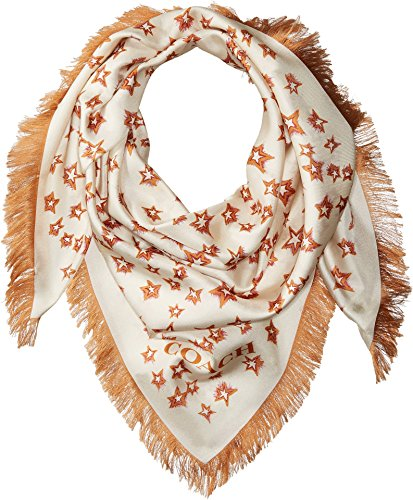 COACH Women's Stars Silk Square with Fringe Chalk One - Islands Virgin Fringed