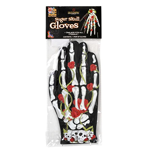 Halloween Bones and Roses Skeleton 2pc Gloves, Black White, One-size