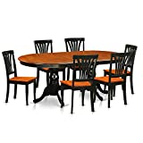 East West Furniture PLAV7-BCH-W 7 Piece Dining Table with 6 Solid Chairs Set For Sale