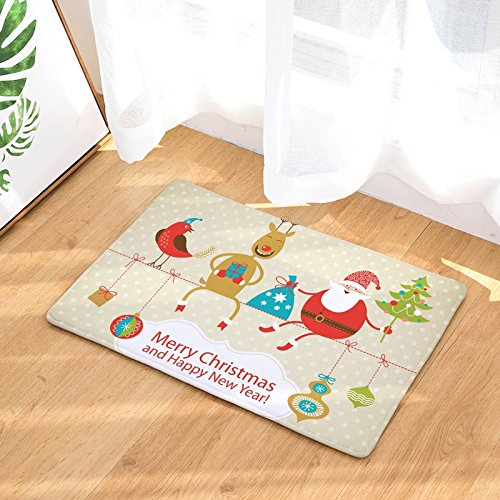 YQ Park Entrance Rug Funny Santa Claus Door Mat Home Front Entry Garage Outside Patio Inside Floor Non-Slip Rubber]()
