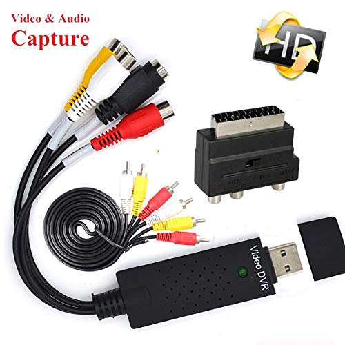 - VCR to DVD Digital Video Converter USB 2.0 UVC Capture Device with Editing Software Transfer Analog VHS Tapes CD DV Camcorder Cassette DVR Hi8 TV File Digitizer for Computer RCA Audio Recorder Adapter