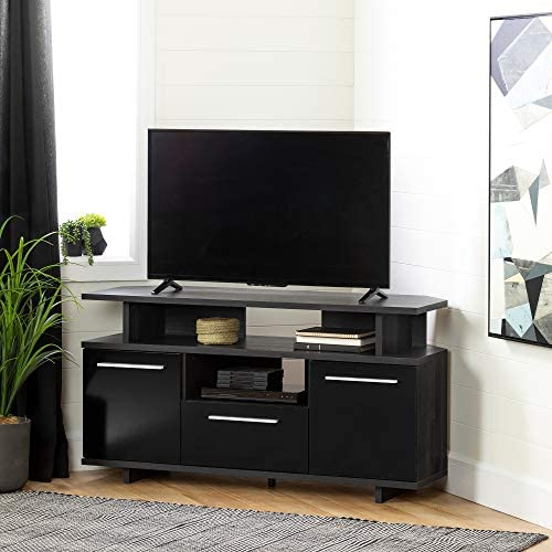 South Shore Reflekt TV Stand, Gray Oak and Black