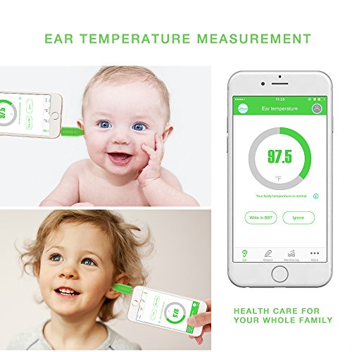 Jerrybox Smart Thermometer for Kids, Baby Temperature Monitor, Portable Infrared Thermometer with Free App for iOS, Measure and Monitor Temperatures of Body and Many Different Objects