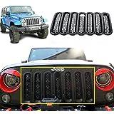 Danti 7PC Black Front Grill Mesh Grille Insert Kit with Key Hole for Jeep Wrangler JK JKU Sports Sahara Freedom Rubicon X & Unlimited X 2/4 Door 2007-2016 (Black Key Hole)