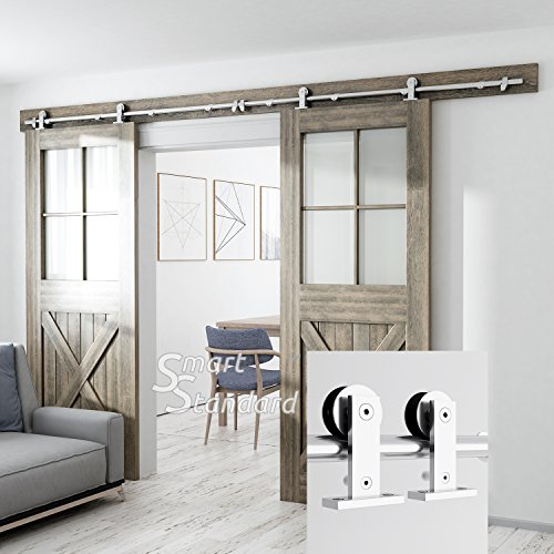 (10ft Heavy Duty Sturdy Double Door Sliding Barn Door Hardware Kit - Super Smoothly and Quietly - Simple and Easy to Install - Includes Step-by-Step Installation Instruction - Fit 30