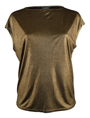 Lauren Ralph Lauren Women's Plus Size Metallic Knit Top Shirt-G-2X - Metallic Knit Top