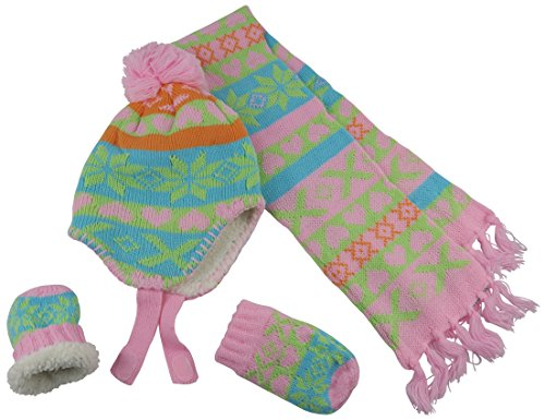 N'Ice Caps Little Girls and Infants Sherpa Lined Knitted 3 PC Set with Designs (6-18 Months, Coral/Pink/Multi Infant)