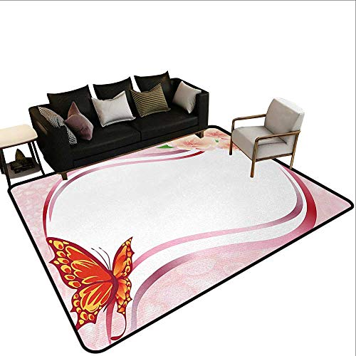 Bath Rugs for Bathroom Non Slip Butterfly,Abstract Design with Floral Ornament and Vibrant Butterfly Wavy Lines Pale Pink,Multicolor,for Living Room Bedrooms Kids Nursery Home Decor 5'x 7' ()