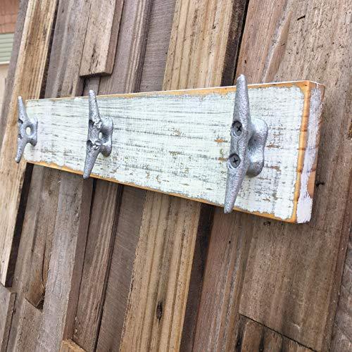 Nautical Distressed White over Gray Boat Cleat Coat Rack, Towel Rack, Hat Rack, Book Bag Rack, or Key Rack