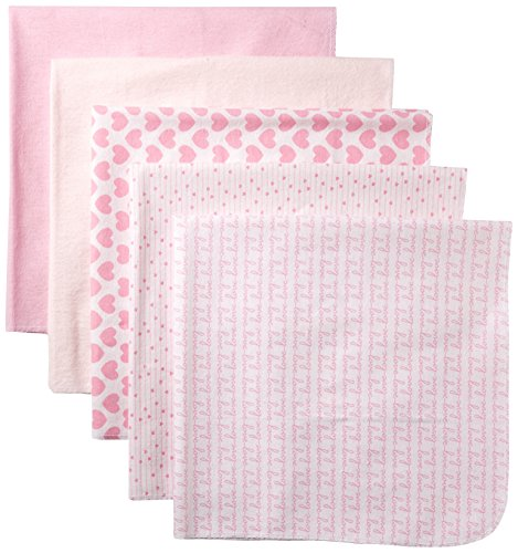 Rene Rofe Baby Baby 5 Piece Flannel Blanket Set, hearts Of Pink, One Size (Piece Pink Hearts 5)