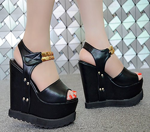 absätzen 15 19 laufsteg sandalen mode zentimeter modell cm schwarz 1xRa1