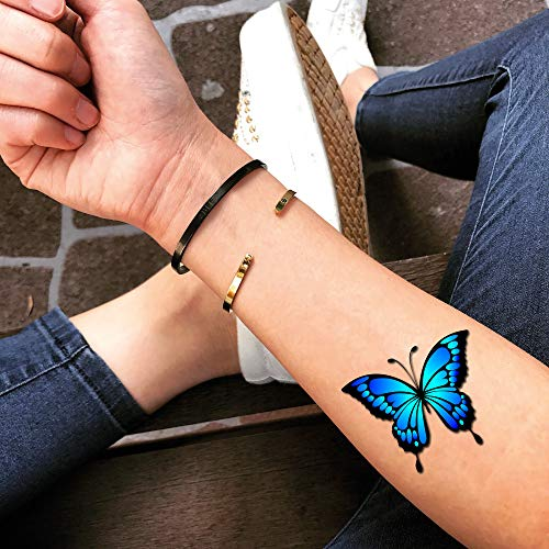 Blue Butterfly Temporary Fake Tattoo Sticker (Set of 2) - -