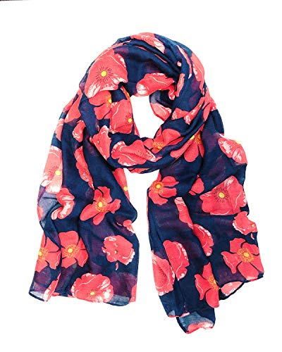 Wrapables Lightweight Poppy Floral Print Long Scarf, Navy (Mens Floral Scarf)