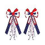 #6: Grace Home Set of 2 Large Patriotic Stars and Stripes American Flag Bow - 4th of July Decoration