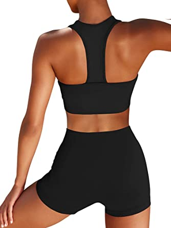 Xxtaxn Women S Sports Bras Set Cutout Sleeveless Tops Biker Shorts Two Piece Outfits At Amazon Women S Clothing Store