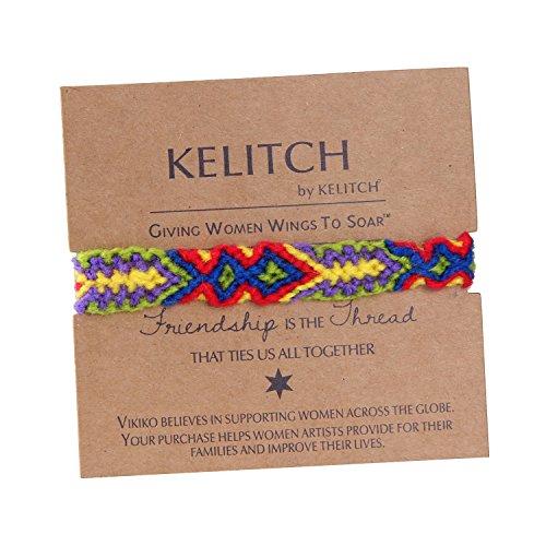KELITCH Red/Blue Yellow Woolen Threads Handmade Braided Friendship (Braided Friendship Bracelet)