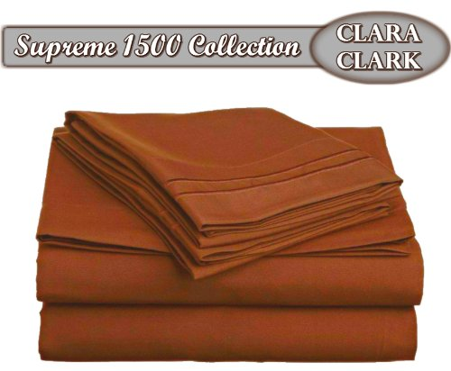 Clara Clark Supreme 1500 Collection 4pc Bed Sheet Set - Queen Size, Burnt Sienna (Rust, Orange Brown) - Sienna Duvet Cover