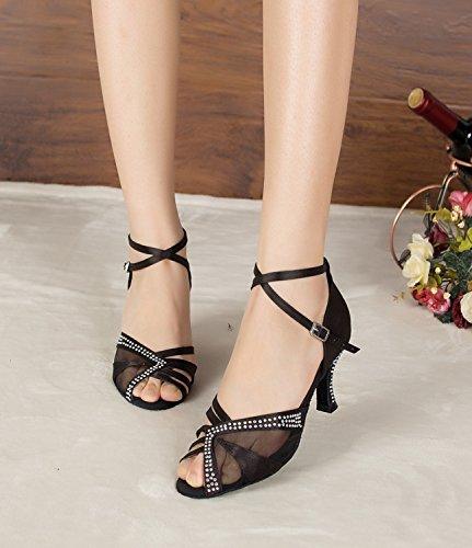 Minitoo sandales en maille les chaussures latine femme Noir et de pour danse wBqrHRBnxX
