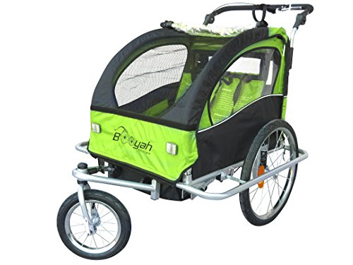 Booyah Double Baby Child Bicycle Bike Trailer & Jogger Green (Green)
