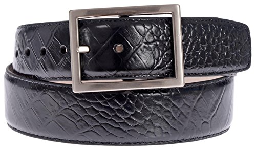 PGA TOUR Men's Croc Embossed Leather Belt with Silver Tone Buckle (Black, 34) (Gold Crocodile Belt)