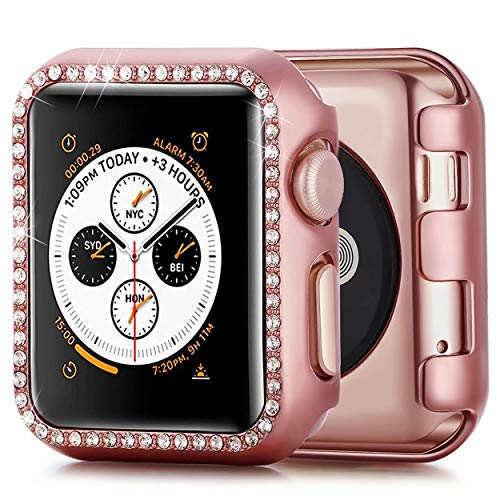 JuQBanke Compatible with Apple Watch Case 38mm, TPU Bumper Protective Cover Women Girl Bling Shiny Crystal Rhinestone Diamond Screen Protector Compatible for iWatch Series 3/2 / 1(Rose Gold,38mm)