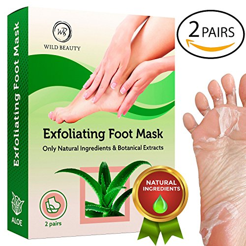 NEW 2018 Exfoliating Foot Peel Mask For Soft Smooth Touch Baby Feet - 2 Pairs Peeling Away Calluses Dead Skin Remover for Feet - Repair Rough Heels - Aloe Baby Foot Peel by Wild Beauty