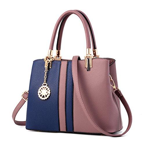 Luckywe Cuero mujer bolsas asa superior bolso carteras Rayas multicolor diseñador bolsos A24 Azul