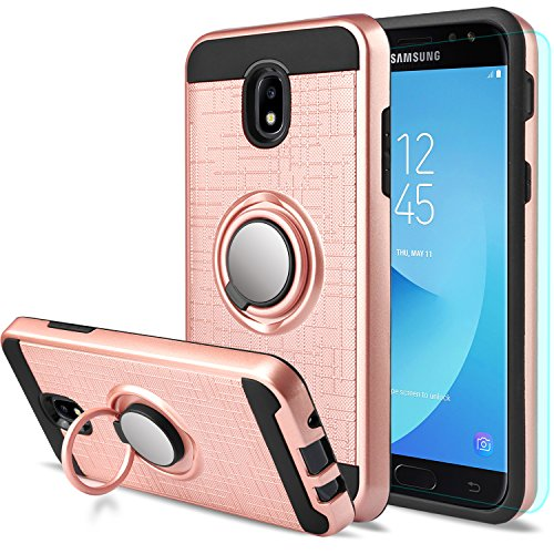 AnoKe for Galaxy J3 Star / J3 2018/J3 Orbit/J3 Achieve/J3 Express Prime/J3 Prime 2/J3 Emerge 2018/Amp Prime 3/J3 Eclipse 2/Sol 3/J3 Aura Case with Screen Protector,360 Degree Ring Holder ZS Rose Gold