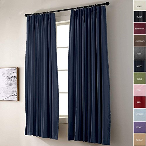 FirstHomer Pinch Pleat Solid Window Treatment Thermal Insulated Blackout Room Darkening Curtains / Drapes for Bedroom,50 Inch Wide By 96 Inch Long,Navy(One Panel)