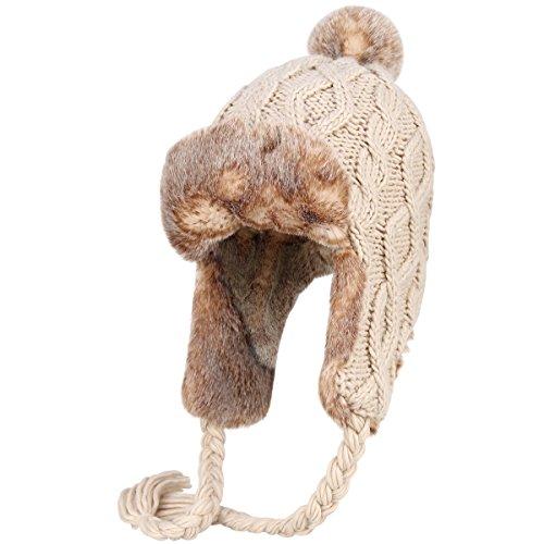 OMECHY Womens Knit Peruvian Beanie Hat Winter Warm Wool Crochet Tassel Peru Ski Hat Cap with Earflap Pom,Beige