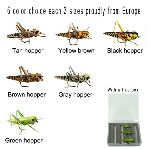 Tie Soft Hackle (Riverruns Super Realistic Flies Grass hopper 6 Color Choices each 3 sizes Supreme Foam Hopper Fly Proudly From Europe (Yellow brown hopper with 3 sizes( 3pcs)))