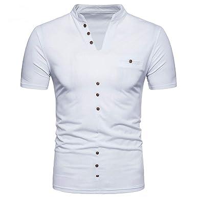 Bestow Cuello de Hombre Camiseta de Manga Corta Hombre Verano ...